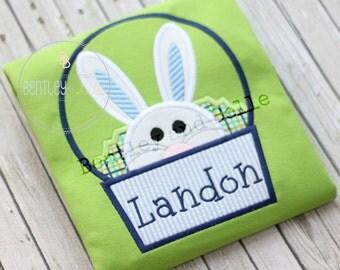 Custom Embroidered Boys Easter Shirt - Boys Bunny Shirt - Easter Bunny Shirt - Easter Basket Shirt