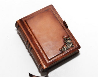 "Small leather journal, vintage style book, 4""x5.7""(10x14.5cm), OOAK leather journal, traveler journal, secret memories, blank notebook diary"