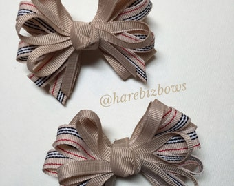 TWO 3 inch Pig Tail Hair Bows Little Petite Piggy Tail