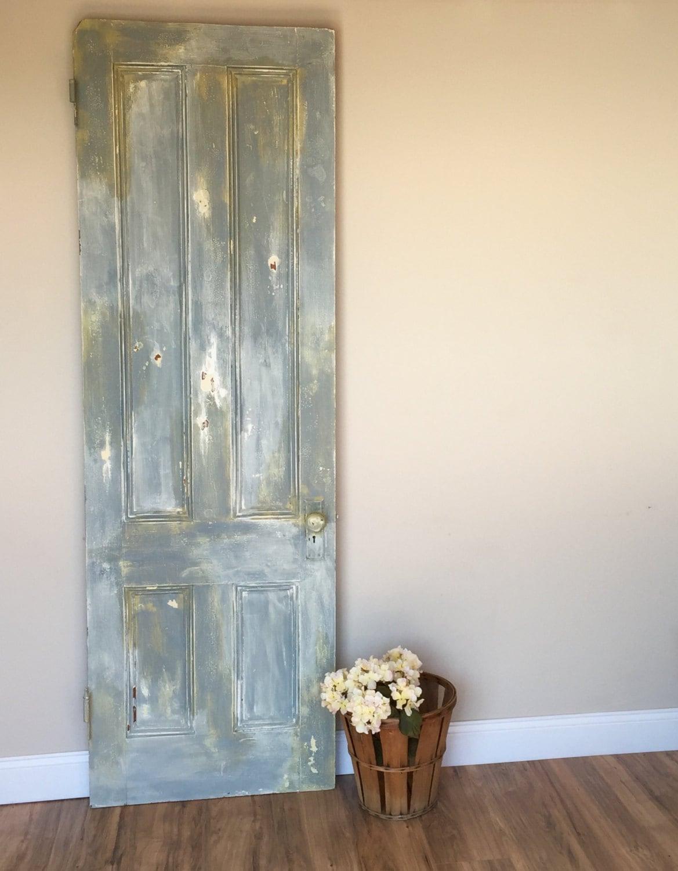 Wooden door vintage door old doors antique door rustic door distressed painted for Distressed wood interior doors