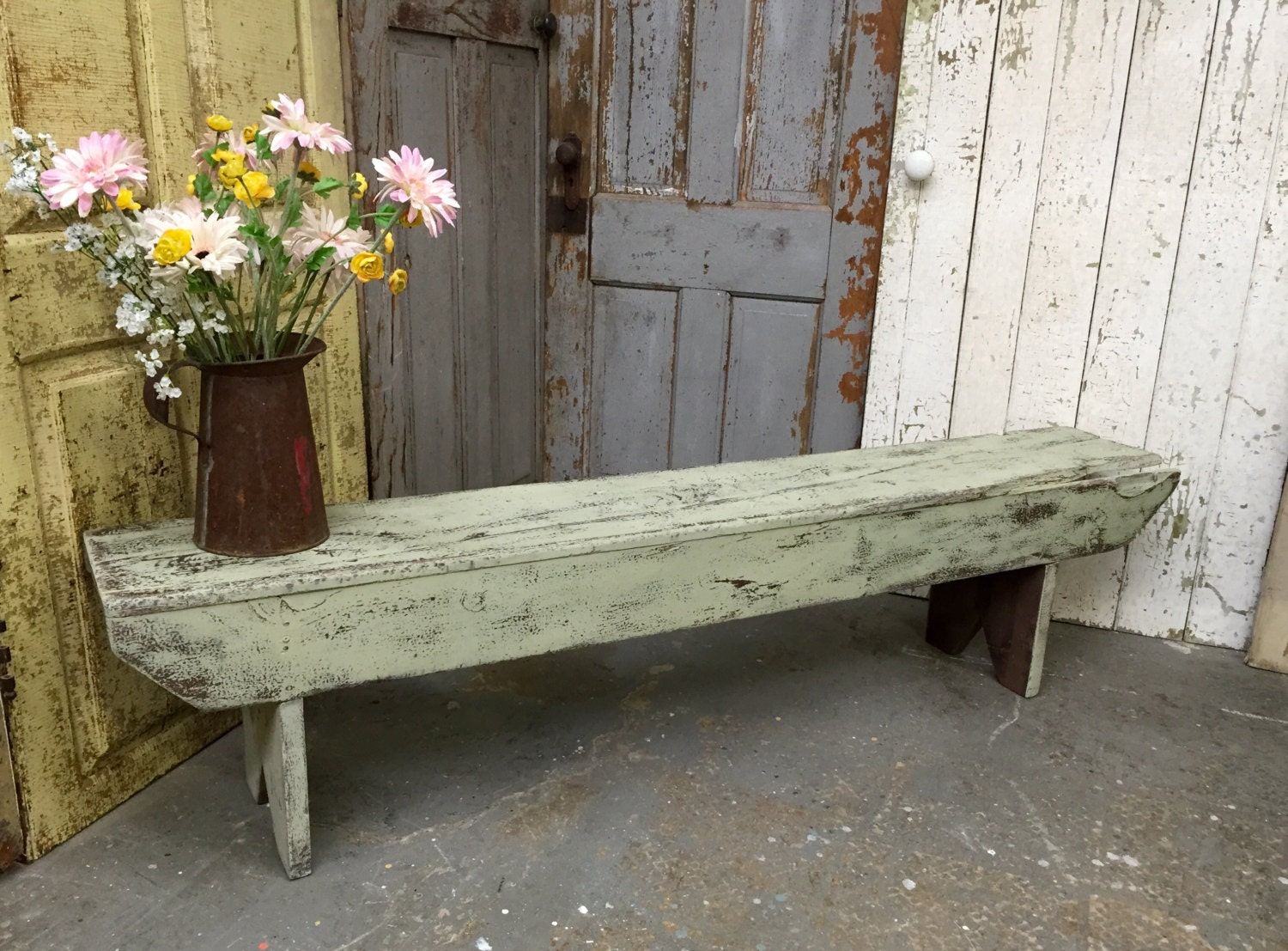 Vintage Bench Farmhouse Bench Rustic Wooden Bench Green