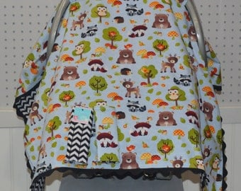 Baby Boy Car Seat Canopy/Forest Animals