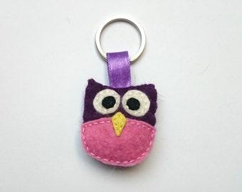 Owl keychain felt  in purple and pink handmande felt animals woodland key holder wool felt, handmade eco friendly