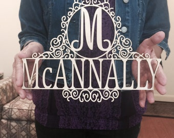 Personalized Family Last Name Wall or Door Hanging Sign with Script Initial