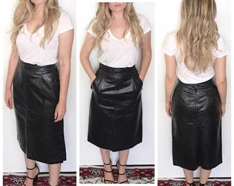 Vintage black leather maxi skirt high waist leather skirt leather pencil skirt