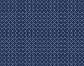 Riley Blake Mini Quatrefoil,  Navy and White, Sewing Material, Cotton Fabric, Quilting, Clothing and Craft, Fat Quarter, By The Yard
