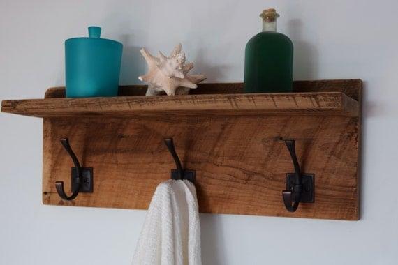 reclaimed wood bathroom towel rack barn wood floating shelf 3. Black Bedroom Furniture Sets. Home Design Ideas