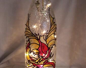 Gold Fire Breathing Dragon Wine Bottle Lamp