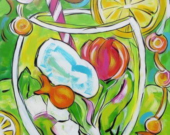 HAPPY ART! Pop Art Original. Red Tulip & Lemon Goldfish Drink - A 18x24 Inch Original Acrylic Painting on Wood Panel#coloryourworld