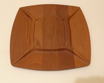 Digsmed Teak Danish Modern Serving Tray Contoured Divided Cheese Board Staved Teak Wood Denmark Appetizers