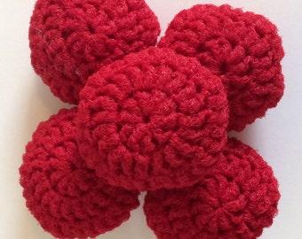 Nylon Net Scrubbies Set of 5 Red