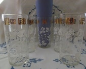 Gold Greek Key Tumblers Tropical White Flowers Set of Five Mid Century