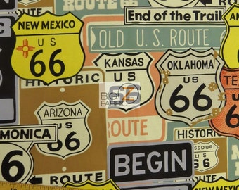 """100% Cotton Fabric By Alexander Henry - Historic Route 66 - 45"""" Wide By The Yard Will Rogers Highway Main Street of America"""