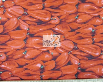 """100% Cotton Fabric By RJR Fabrics - Farmer's Market Red Bell Peppers - 45"""" Wide By The Yard (FH-1925)"""