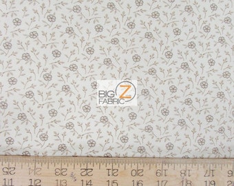 "100% Cotton Fabric By Wilmington Prints  - Birds Of A Feather Floral Khaki Petals - 45"" Width Sold By The Yard (FH-1995)"