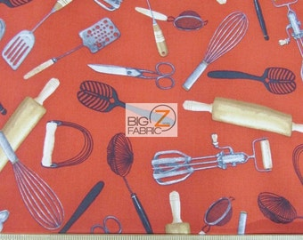Kiss The Cook Recipe Utensils By Robert Kaufman 100% Cotton Fabric - Sold By The Yard (FH-2492) Red Kitchen
