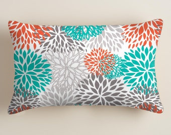 Orange Pillows -  Blue  Pillows - Lumbar  Decorative Throw Pillow Cover Floral Decor Orange Floral Cushion Covers Fall Decor