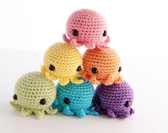5 PIECE SET: Jumbo MiniPus (Solid Colors) - Miniature Octopus Amigurumi Doll Plush