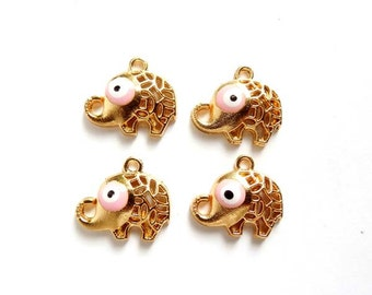 4 Gold Plated Pink Evil Eye Elephant Charms - 21-34-8