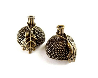 2 Antique Bronze Acorn Bead Cap Charms - 18-BC-12