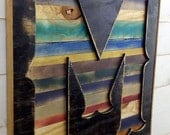 """Letter """"M"""" Wooden X-Large Bold Western Style Shadow Box Initial - Rustic Wooden A B C D E F G H I  J K L M N O P Q R S T U V W X Y Z"""