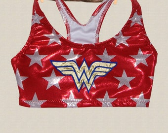 Wonder Woman Sports Bra - Sizes from Toddler to Teens