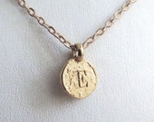 "E personalized girlfriend, E initial 14k gold plated jewelry, unique E single coin, letter charm preppy choker for women, ""E"" monogram gifts"