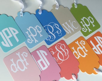Set of 10, Monogram Gift tags with ribbon