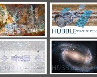 NASA Space Hubble Telescope Poster Set Collection, Set of 4