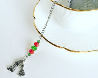 "Tea Infuser ""Christmas Tree"" & Stocking  Charm ~Tea Time~ Mesh Tea Ball // Red Green"