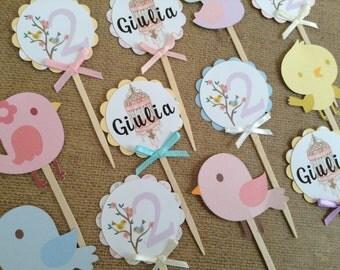 Bird Birdcage Cupcake Toppers