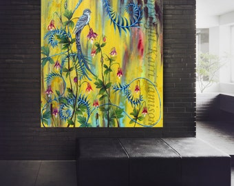 Karri Jamison Canvas PRINT, Title: In The Garden,  Huge GICLEE PRINT on Canvas 38x44 inches