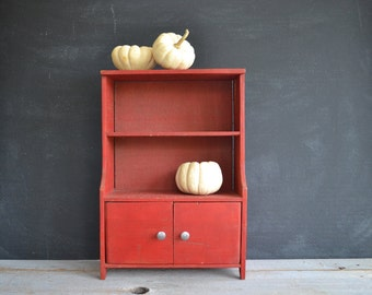 Vintage Handmade Child's Toy Cupboard ~ Red Wooden Toy Cupboard ~ Display Prop ~ Photo Prop ~ Folk Art