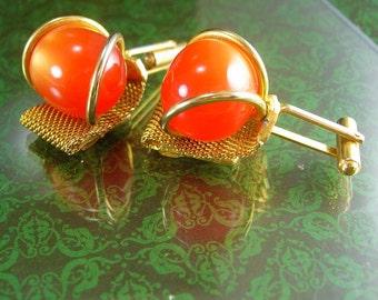 Halloween Orange Cufflinks Moonglow tangerine HUGE Vintage Cufflinks Gold Filled Mesh Wrap hipster novelty cufflinks
