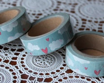 Scrapbook Supplies- 1 roll. Washi Tape. Hearts and Clouds - Little Laser Lab