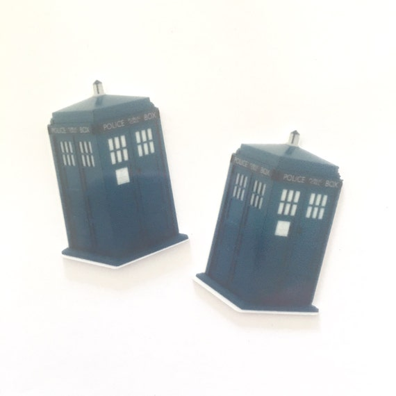 Laser Cut Supplies- 2 Pieces. 30mm Police Box Charms - Laser Cut Acrylic - Jewelry Supplies-Little Laser Lab.Online Laser Cutting