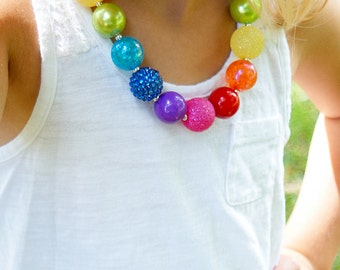 Little Girl's Rainbow Necklace Little Girl's Chunky Necklace Little Girl's Bubble Gum Beads Necklace Rainbow Beads Necklace Chunky Necklace