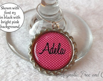 ONE WINE CHARM, Personalized Wine Charms, Bachelorette Party Favors, Wedding Favor, Custom Name, Wine Rings, Party Favour, Polka Dot Print