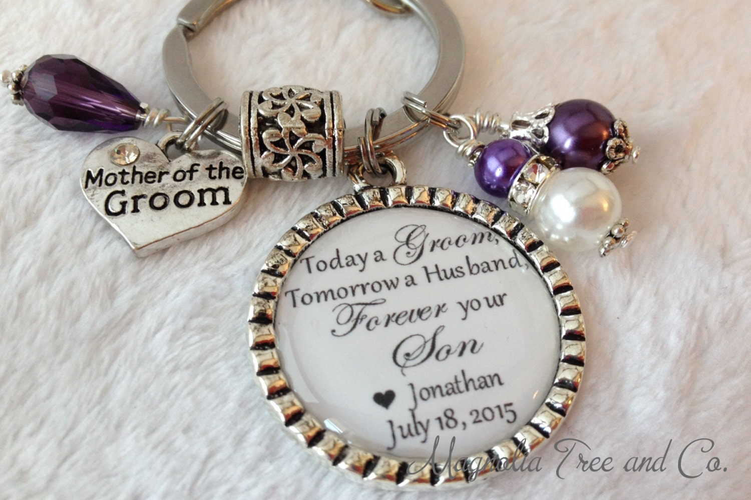 Mother Of The Groom Gift: MOTHER Of The GROOM Personalized Key Chain Necklace Thank