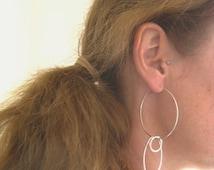 Hoop Earrings,  Sterling Silver Large Hoop Earrings, Silver Link Earrings, Dangle