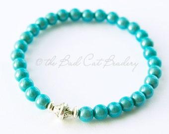 Boho Beaded Stretch Stack Bracelet Blue-Green Iridescent Beads