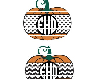 SVG Aztec Pumpkin Monogram - 2-Designs for 1. Halloween SVG Personalized Studio Vector files for Vinyl, Tile, Tshirt, Window Decal or Canvas