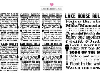 MINI 6 PACK Designs - Rules - Lake, Cottage, Cabin, Beach house, Camp, Trailer