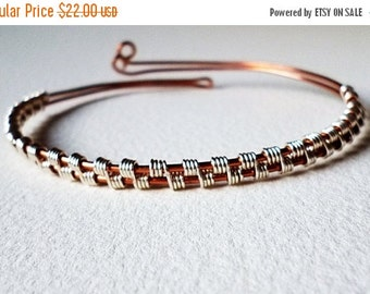 ON SALE Bracelet Wire wrapped Mix silver and copper wire, Wrapped wire Bracelet cuff
