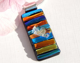 Striped Dichroic Glass Pendant - Fused Glass Jewellery - Multicolor Glass Necklace