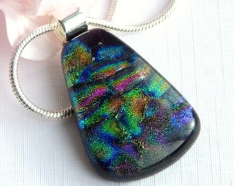 Multicolor Dichroic Glass Pendant - Fused Glass Jewelry - Glass Necklace