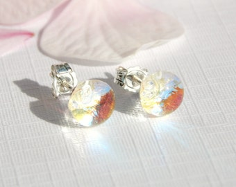 Tiny Sterling Silver Stud Earrings - Dichroic Glass Post Earrings - Fused Glass Jewelry - 925 Sterling Silver