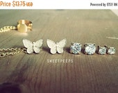 Valentines Sale Assorted Spring Butterfly Rhinestone Studs Set with Detachable EarCuff