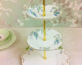 Vintage 3 Tier Cake Stand Hand Painted Blue Flowers