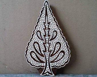 Wood block stamp tree printing pine stencil finely carved traditional Indian Henna carved wooden fabric print